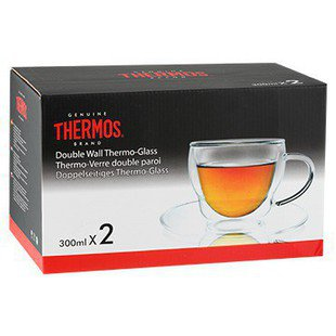 Thermos Набор чашек Double-wall Glass Mug With Dish